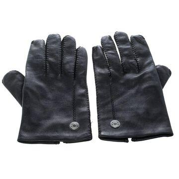 Hermes Black Leather Gloves 8 1/2