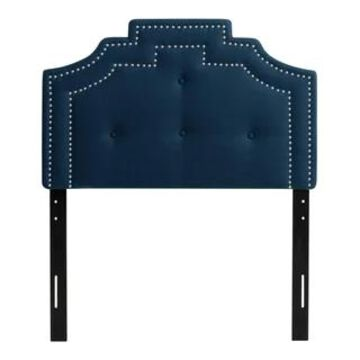CorLiving Aspen Crown Silhouette Headboard with Button Tufting - Twin/Single (Blue)
