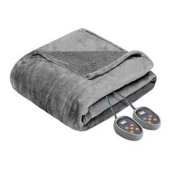 Beautyrest Microlight-To-Berber Reversible Full Heated Blanket In Grey
