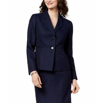 Le Suit Womens Blazer Navy Chevron Print Notched Lapel