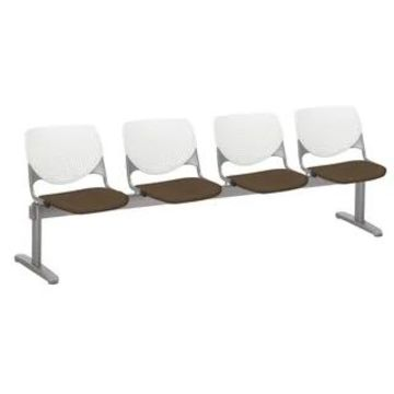 KFI KOOL 4 Seat Upholstered Reception Bench (Fudge, White)