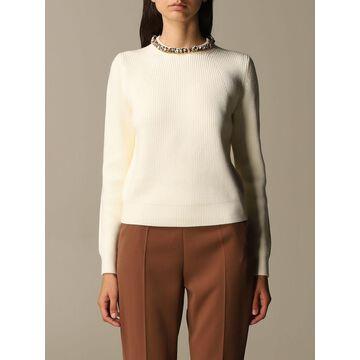 Elisabetta Franchi Crewneck Sweater With Jewel Detail