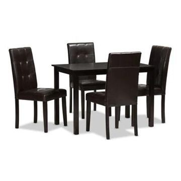Baxton Studio Avery 5-Piece Faux Leather Upholstered Dining Set in Dark Brown