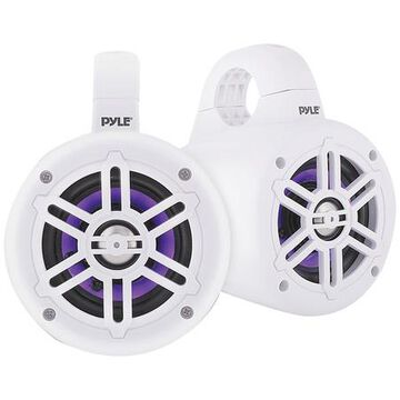 Waterproof Marine Wakeboard 4 300W Tower Speakers with LEDs (White)