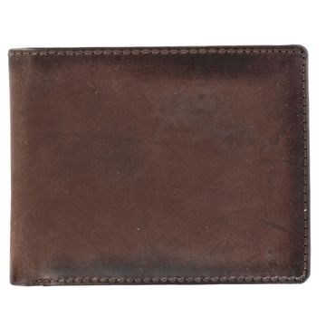 CTM Men's Hunter Leather Bifold Passcase Wallet with Burnished Edges