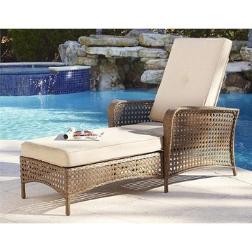 Cosco Outdoor Steel Woven Wicker Chaise Lounge Chair