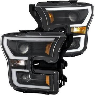 ANZO 2015-2016 Ford F-150 Projector Headlights w/ Plank Style Switchback Black w/ Amber
