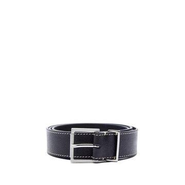 Maison Margiela - Topstitched Grained-leather Belt - Mens - Black