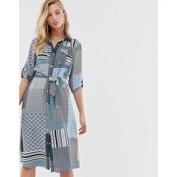 Liquorish shirt dress with tie waist in mixed print