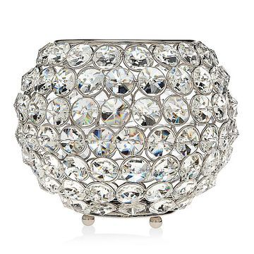 "Godinger 8"" Glam Crystal Ball Tea Light Candle Holder In Silver"