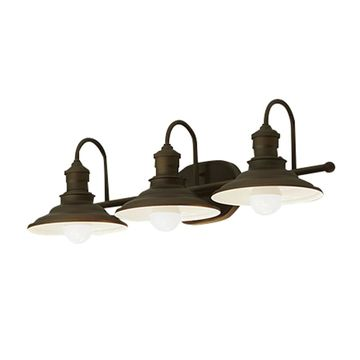 allen + roth Hainsbrook 3-Light 25.98-in Aged Bronze Cone Vanity Light