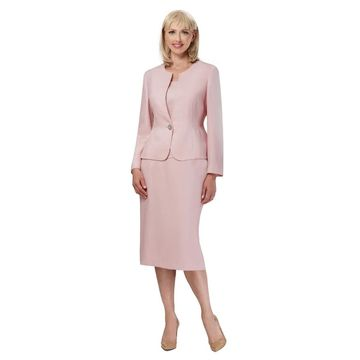 Giovanna Signature 3-pc Novelty Fabric Skirt Suit with Embellished Button