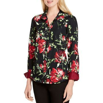 Foxcroft Womens Rhonda Cotton Floral Button-Down Top