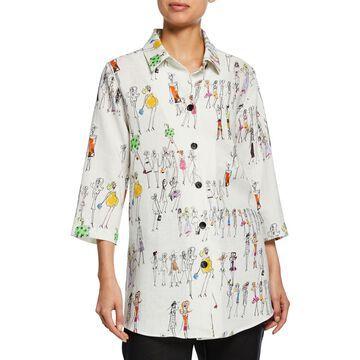 Fashion Girls Button-Front Linen Boyfriend Shirt