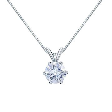 Auriya 18k Gold 3/4ctw Round Solitaire Moissanite Necklace 6-prong Basket - 5.9 mm (White)