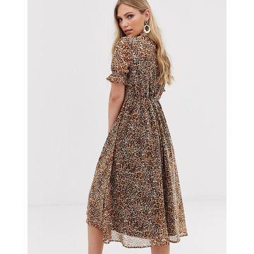 Y.A.S leopard print puff sleeve midi dress