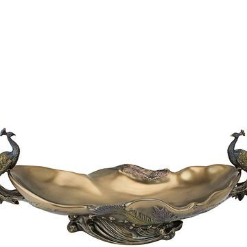 Design Toscano Peacocks Sculptural Decorative Centerpiece Bowl