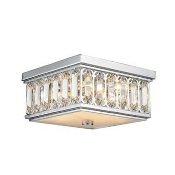Worldwide Lighting Athens 4-Light Chrome Finish and Clear Crystal Flush Mount Ceiling Light