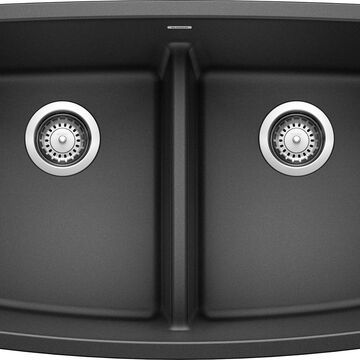BLANCO Valea Undermount 32-in x 19-in Anthracite (Black) Double Equal Bowl Kitchen Sink   442200