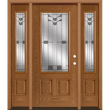 Masonite Frontier 64-in x 80-in Fiberglass 3/4 Lite Left-Hand Inswing Woodhaven Stained Prehung Single Front Door with Sidelights with Brickmould