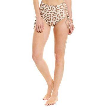 Carmen Marc Valvo Womens Swimwear Animal Print Lace-Up High-Waist Bikini Bottom