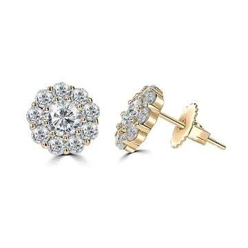 La Vita Vital 2.0ct TGW 14 Karat Moissanite Floral Stud Earrings - N/A