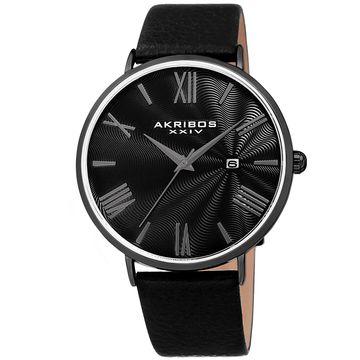 Akribos XXIV Mens Black Leather Strap Watch-A-1041bk