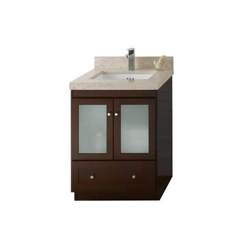 Ronbow Shaker 24-inch Bathroom Vanity Set in Dark Cherry, Marble Countertop and Backsplash with Ceramic Bathroom Sink in White