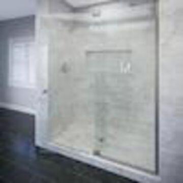 Basco Cantour 42.0125-in to 48-in W Frameless Pivot Brushed Nickel Shower Door