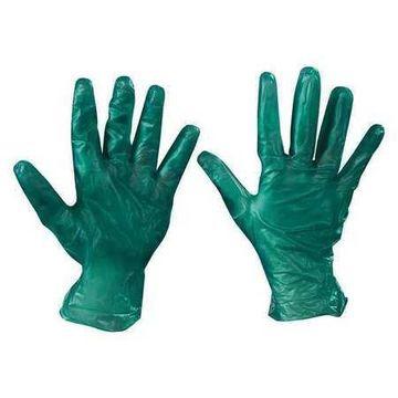 BOX PARTNERS GLV2046M Green Vinyl Disposable Gloves, M, 100PK
