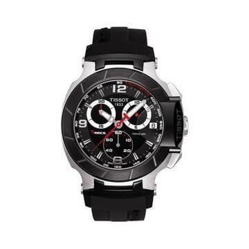 Mens T-Race Black Quartz Chronograph Rubber Strap Watch