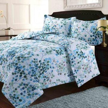 Tribeca Living Lyon Leaves 3-Piece Queen Quilt Set in Blue