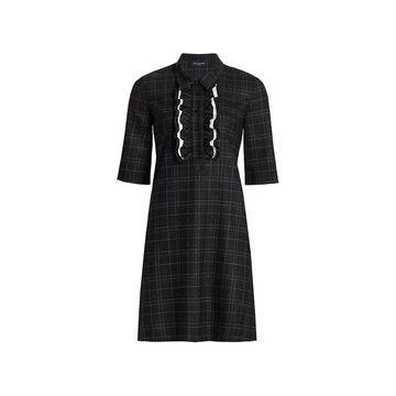 Piazza Sempione Wool-Blend Ruffle Yoke Shift Dress