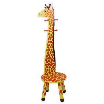 Teamson Kids Giraffe Wooden Stool and Coat Tree