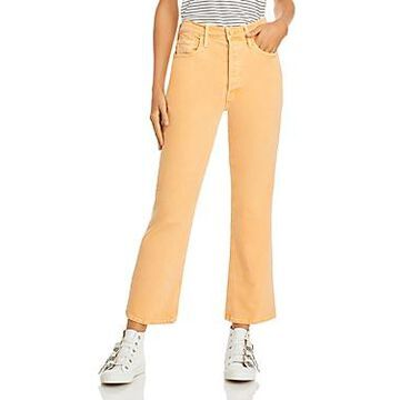 Mother The Tripper Frayed Hem Ankle Bootcut Jeans in Apricot Nectar