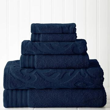 Pacific Coast Textiles 6-piece Jacquard Medallion Swirl & Solid Mix & Match Towel Set, Blue, 6 Pc Set