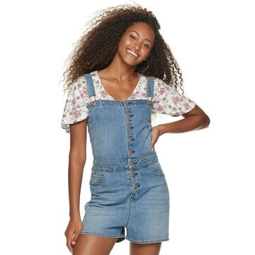 Juniors' American Rag Wide Leg Denim Overalls
