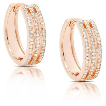 Dolce Giavonna Rose Gold Over Silver or Sterling Silver Cubic Zirconia Three-Row Earrings
