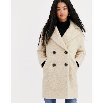 Miss Selfridge longline teddy coat in cream