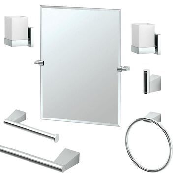 Gatco Bleu 7-Piece Bathroom Accessory Kit with Mirror and Wall Sconces