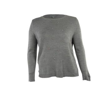 NY Collection Women's Jewled Front Knit Sweater - Grey