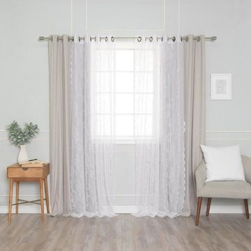 Aurora Home Rose Sheers & Blackout Curtains - Set of 4 Panels