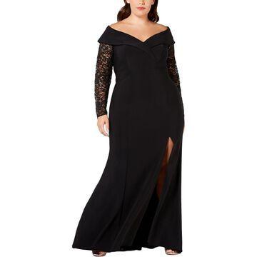 Xscape Womens Plus Lace Sequined Evening Dress