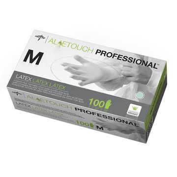 Medline Aloetouch Powder-Free Latex Exam Gloves Medium Green