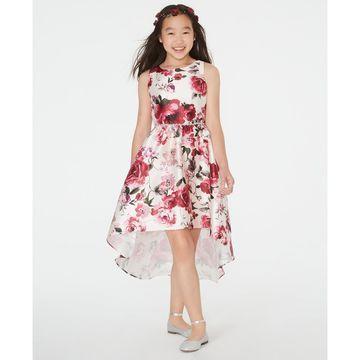 Big Girls Floral-Print Mikado High-Low Dress