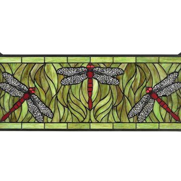Design Toscano Emerald Green Dragonfly StainedGlass Window