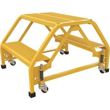 20 in Perforated Steel Stepladder W/ Casters, 350 lbs. Capacity
