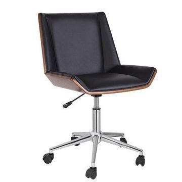 Porthos Home Office Chair With PVC Upholstery, 360-Degree Swivel And Adjustable Height (Mid-Century Style In Black Or White)