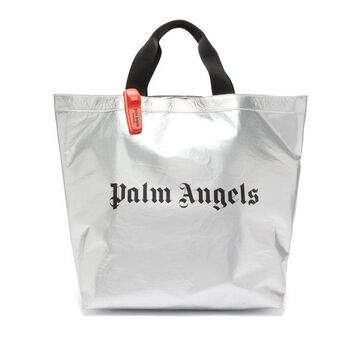 Palm Angels - Logo-print Metallic Tote Bag - Mens - Silver