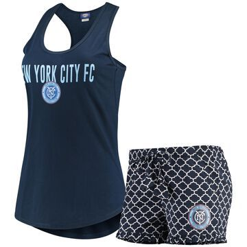 Women's Concepts Sport Navy/White New York City FC Slumber Ruffle Shorts & Tank Top Sleep Set